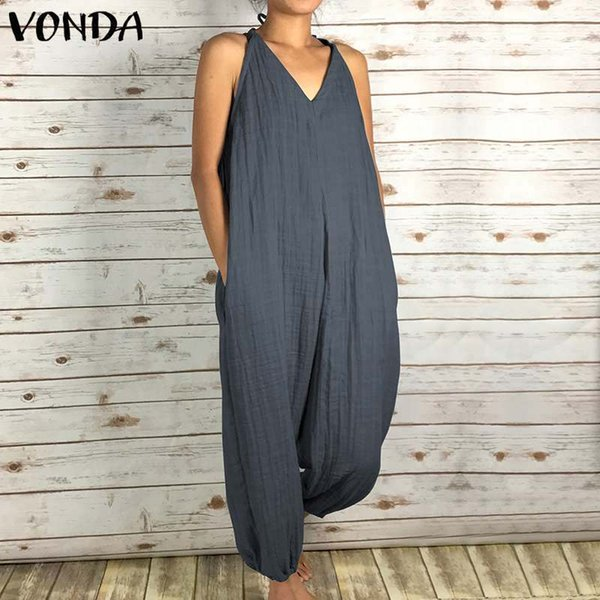 Womens Vintage Rompers Jumpsuits 2019 Summer Sexy Sleeveless V Neck Back Hollow Solid Long Playsuits Casual Plus Size Overalls Y19051501