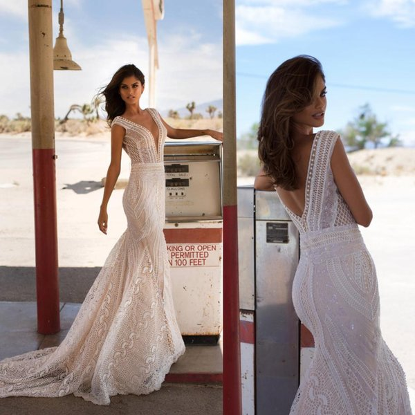 Summer Beach Bohemia robes de mariée sirène profond col en V dos ouvert robes de mariée illusion balayage train robes femmes
