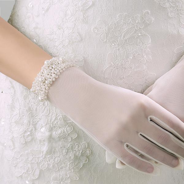 Granos guantes de boda longitud de la muñeca dedo completo guantes de novia con cuentas venta caliente nuevo barato guante de boda envío gratis