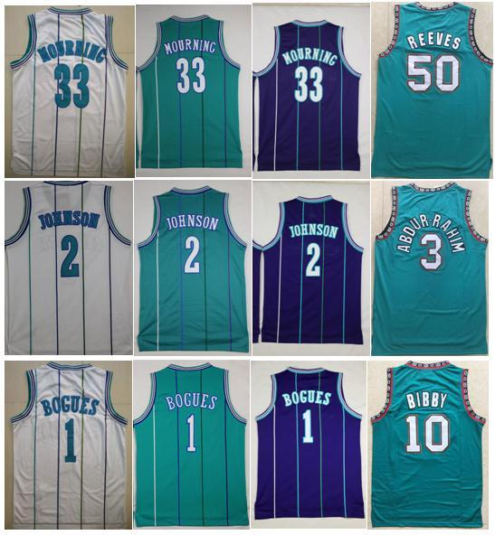 best selling High-QUALITY 33 Alonzo Mourning Jersey #1 Tyrone Bogues Jersey #2 Larry Johnson Jerseys 3 Shareef Abdur Rahim Jersey 10 Mike Bibby 50 Reeves