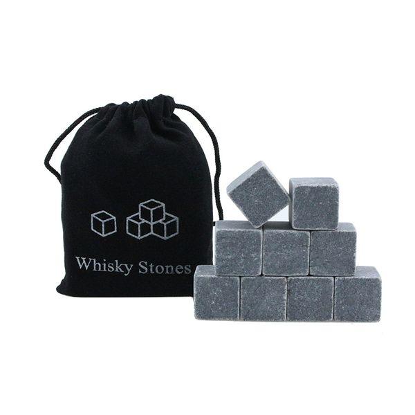 Whisky Ice Stones 9 piezas Bar Wine Ice Cube Cooler con bolsa de terciopelo Whisky Rock Stone Set Bar Tool Regalo de Navidad TTA1711