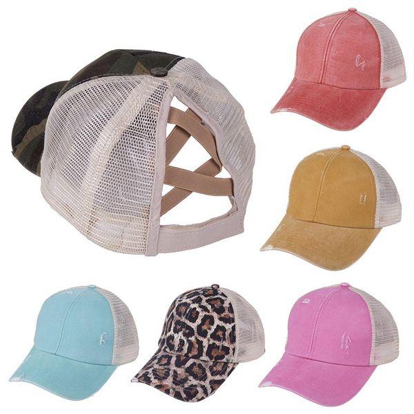 top popular Ponytail Baseball Cap Tie Dye Sequins Messy Bun Hats Criss Cross Washed Snapback Caps Summer Sun Visor Outdoor Hat OOA8165-1 2020