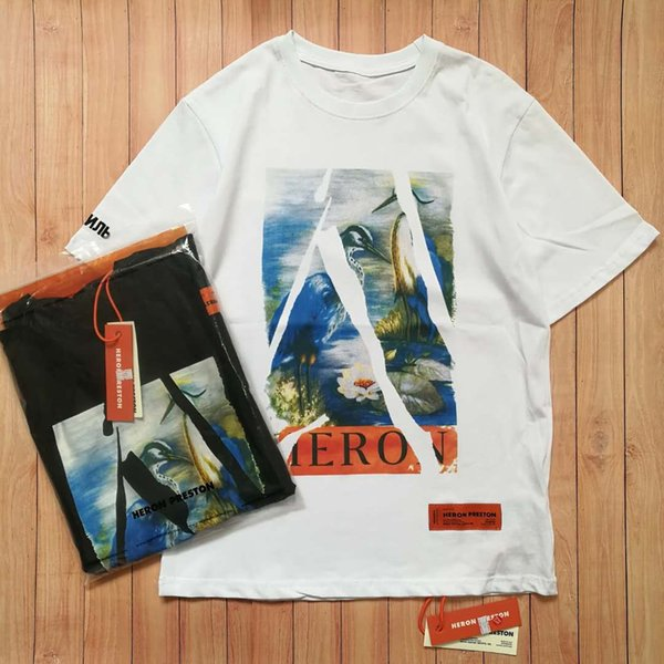 2019 Summer Style Heron Preston dove T-Shirt Broken Crane Letter Printed Loose Lovers T-shirt with Round Neck and Short Sleeve ZDL 89.