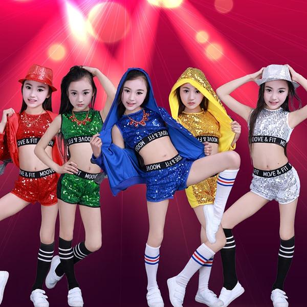 3 Peças Crianças Jazz Trajes de Dança Meninas Meninos Street Dance Lantejoulas Festa Show de Roupas Moderna Criança Hip Hop Stage Wear Outfits
