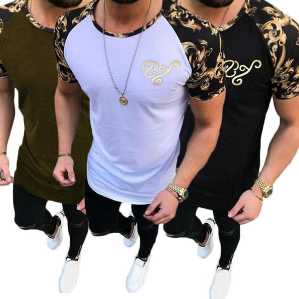 Men T-Shirt Slim Fit Short Sleeve African Printed Muscle Tee Casual Tops Blouse