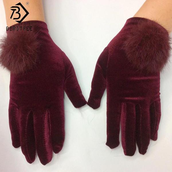 Thermal 7 Colors 2018 Winter New Ladies Velvet Gloves Warm Elagant Women Rabbit Fur Touch Screen Driver's Mittens H80610Q
