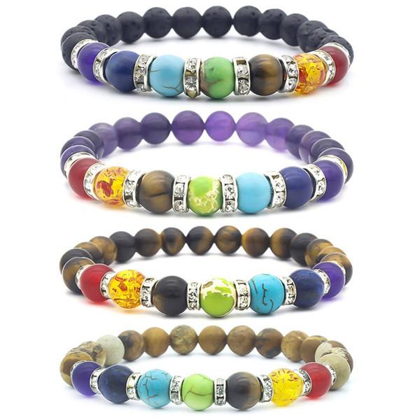 Volcano Colorful  Energy Seven Chakras Yoga Bracelet Balance  Aura Buddha Prayer Bracelet Jewelry