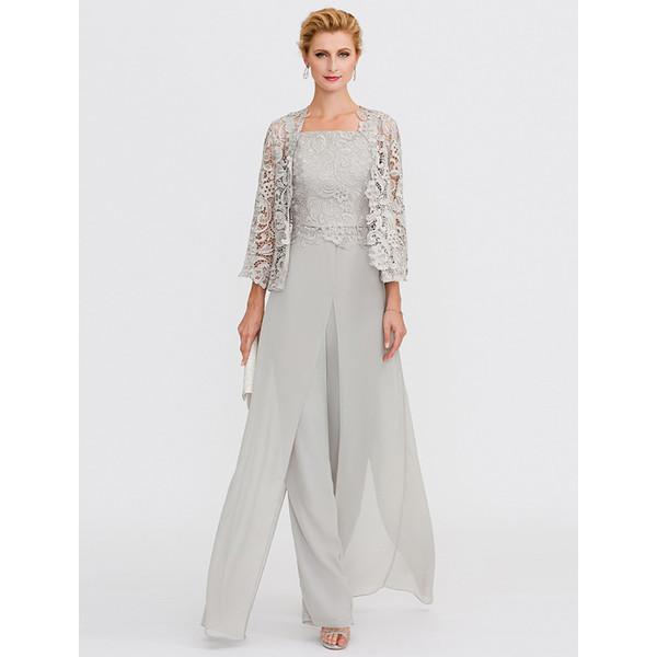 2019 gris Mère de la mariée robes tailleur-pantalon devant fentes de bretelles étage longueur argent gris mousseline de soie cordon dentelle 3 pièces tenues Kurti