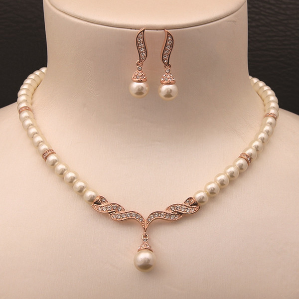top popular Rose Gold Color Cream Glass Pearl and Rhinestone Crystal Bridal Necklace and Earrings Jewelry Sets 2019