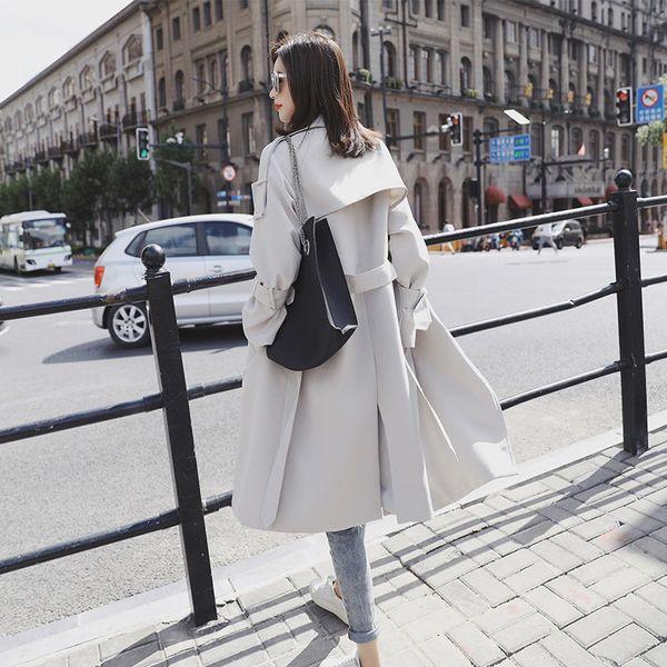 Primavera Trench Coat Longo Para As Mulheres Casuais Elegantes Casaco de Trench Coat Oversized Windbreaker Solto Escritório Senhoras Femme Q1252