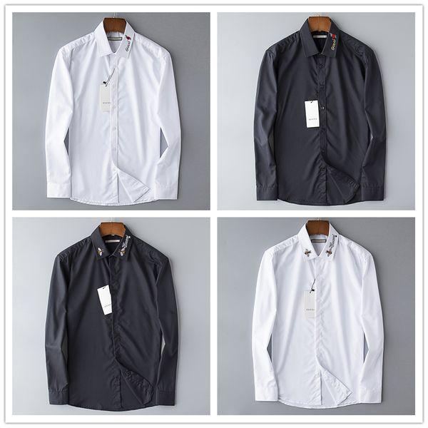 Italy luxury American business brand slim Little bee printing,Men long sleeved shirts, men leisure on tenterhooks men shirts Black and white