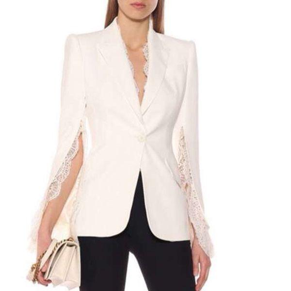 Fashion Blazer 2019 Designer High Quality Patchwork Lace Top Elegant Blazer Coat Women Long Sleeve