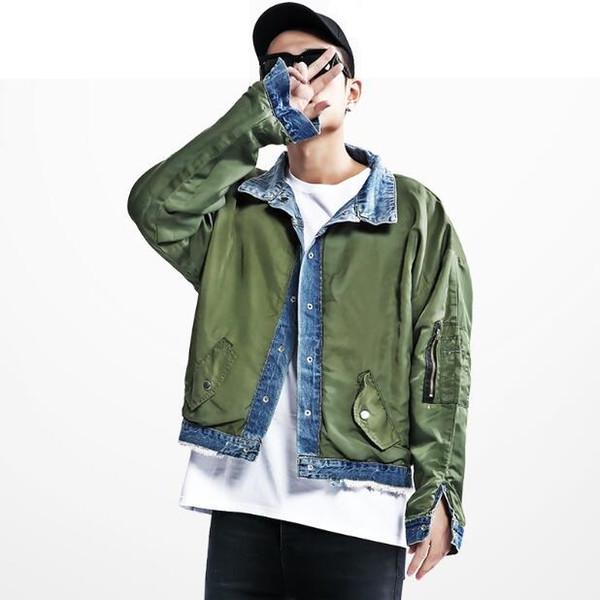 Homme MA1 Blouson aviateur Justin Bieber Style Reversible Pilot Flight Coat Jean en denim et survêtement Vert Armée Homme