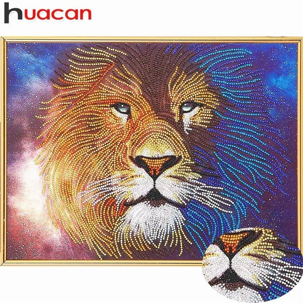 wholesale Diamond Painting Special Shaped Lion 5D DIY Diamond Embroidery Animal Picture Of Rhinestones Mosaic Wall Decor Home