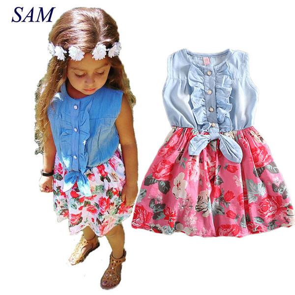 Baby Girls Dress Lovely Hot Kids Jean Denim Bow Flower Ruffled Sundress Dress For Girls Clothing Costume