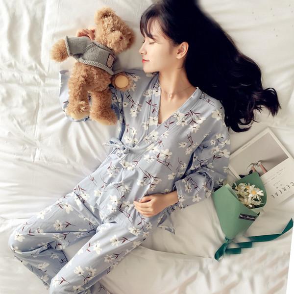 Nouveau Mode Femmes Imprimer Doux Femmes À Manches Longues Kimono Pyjamas Ensembles Chaud Dames Vêtements De Nuit À Col V Style Japonais À La Maison Vêtements