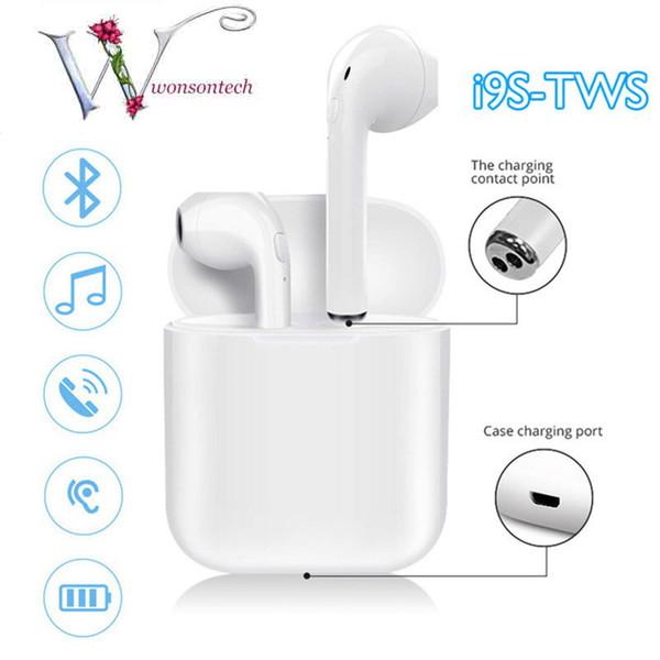 Neue I9S TWS Bluetooth V5.0 Drahtlose Kopfhörer Stereo Ohrhörer Headset Mini Größe Mit Lade Box Für Alle Smartphone Mit Dual Ears Anrufe