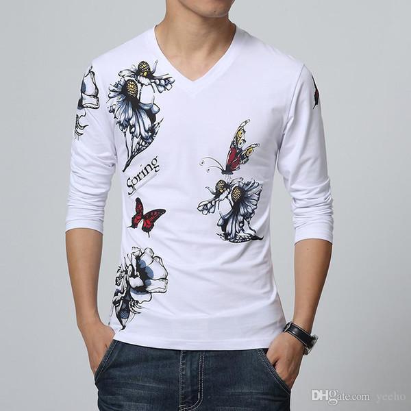2017 New Fashion Brand Mens T Shirt Butterfly Print V Neck Long Sleeve T Shirt Men Slim Fit Casual Mens Cotton Tee Shirt 5XL YH-127