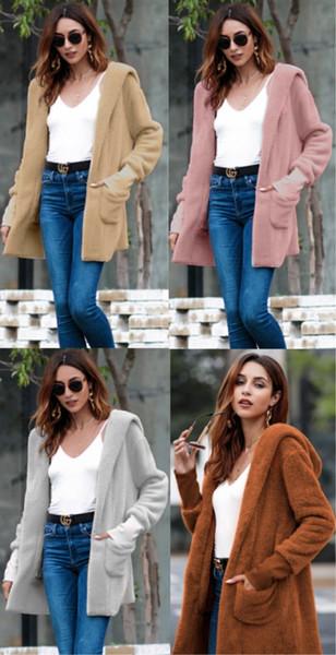 womens long sleeve sherpa coat fleece cardigan designer winter coat soft flannel hoodie loose outerwear fashion causal sweater hot KLW0015