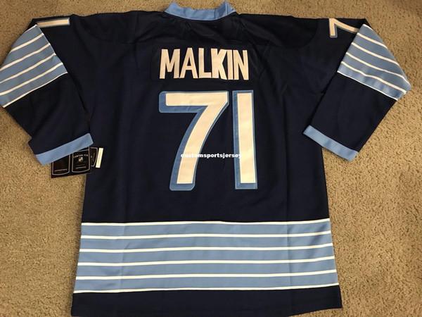 Cheap custom Evgeni MalKin Hockey Jerseys blue CCM men's fight strap Mens Personalized stitching jerseys