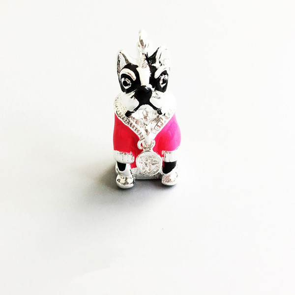 wholesale with Pink Clothes Charm Pendants for Necklace Women Men Silver Dog Fashion DIY Jewelry Making Accessories 2018 New