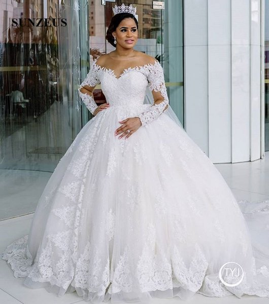 Illusion Neck Long Sleeves Ball Gown Bridal Dresses 2020 Luxury