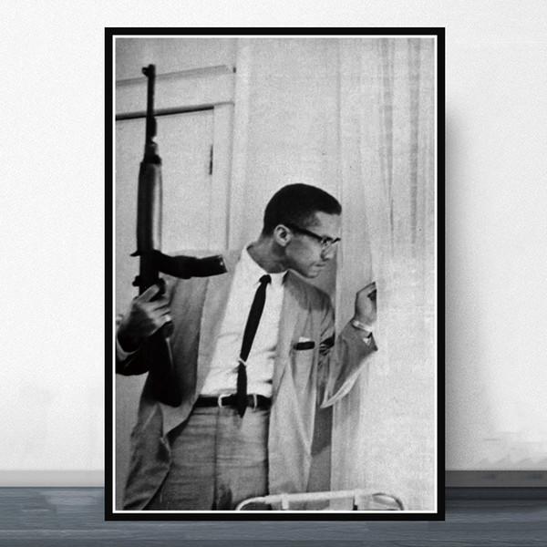 GX008 Hot Malcolm X With Gun Classic Movie Actor Poster Prints Art Silk Light Canvas Pintura de la pared Imagen para la habitación Decoración para el hogar