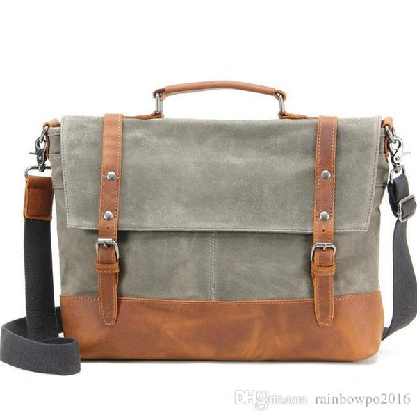 factory sales new waxed waterproof canvas shoulder bag retro, recreational and mad horsehide mans laptop bag business leather briefcase