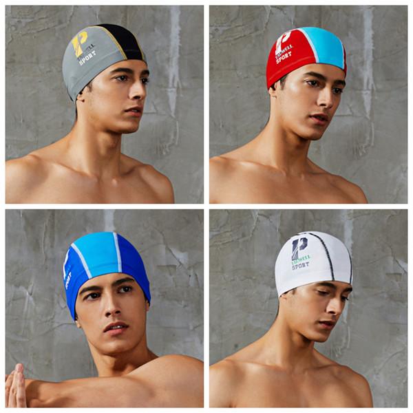 Moda Verão homem dos esportes Cap Cartas Prints Piscina Hat Para Swimm Piscina Adulto de banho toucas de natação Cap impermeável estiramento 4 cores ZZA755