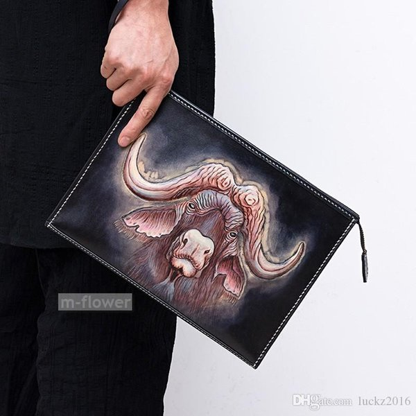 Оригинальный Овцебык сумки конверт сумка ручной работы Кожа Carving Мужчины мешок сцепления подарков