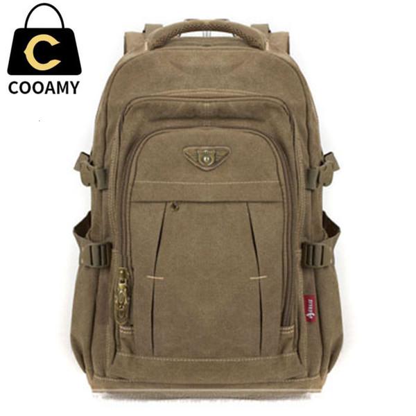 Men's Military Canvas Backpack Zipper Rucksacks Laptop Travel Shoulder Mochila Notebook Schoolbags Vintage College School BagsMX190905
