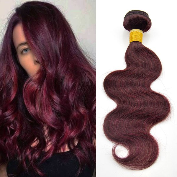 Raw Indian Hair Body Wave 4 Bundles 99J Burgundy Wet and Wavy Human Hair 8-26 Inch Mixed Length Sew in Hair Extension