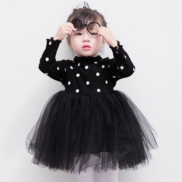 Autumn children's wear polka dot long-sleeved dress Baby brand knitted princess dress Lovely lace net sand party dress