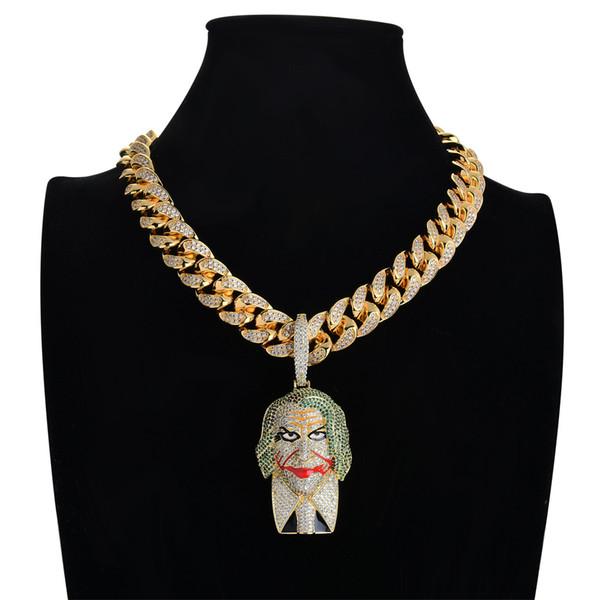 Persönlichkeit batman anzug joker anhänger micro pave kubikzircon stein gold clown anhänger halskette männer hiphop schmuck