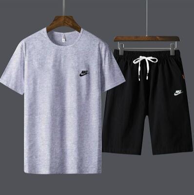 8654179a NIKE 2019 Новые летние мужские спортивные тренировочные костюмы Jogger  Футболка с шортами Хип-хоп Черный