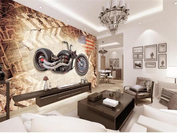 Großhandel Benutzerdefinierte Größe 3D Fototapete Wohnzimmer Wandbild Holz  3D Motorrad Bild Sofa TV Hintergrund Wandhauptdekor Kreative Hotel Tapete  ...