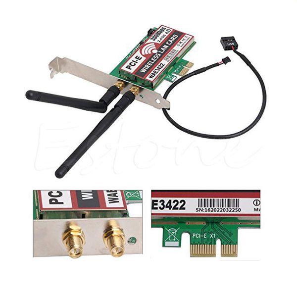 Carte réseau HIYAZONE Bluetooth 4.0 bibande 2G / 5G 300Mbps PCI-E PCI Express WAE3422 Carte réseau WLAN Adaptateur WiFi