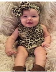 two pieces baby girls rompers floral pocket jumpsuits children clothing sets leopard decoration handband two-pieces infant toddler sets