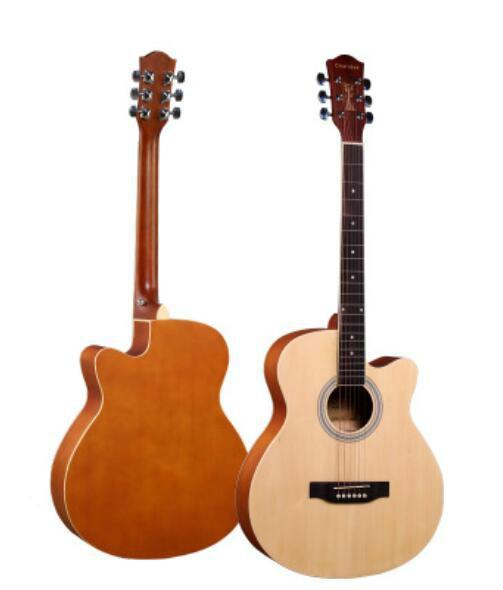 Бесплатная доставка 40 дюймов Basswood баллада акустическая гитара отсутствует уголок матовая гитара начинающих начинающих практиковать музыкальные инструменты