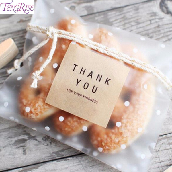FENGRISE Wedding Bag Packing Transparent Cellophane Candy Cookie Gift Bag Frosted OPP Birthday Party Candy Packaging Pouch