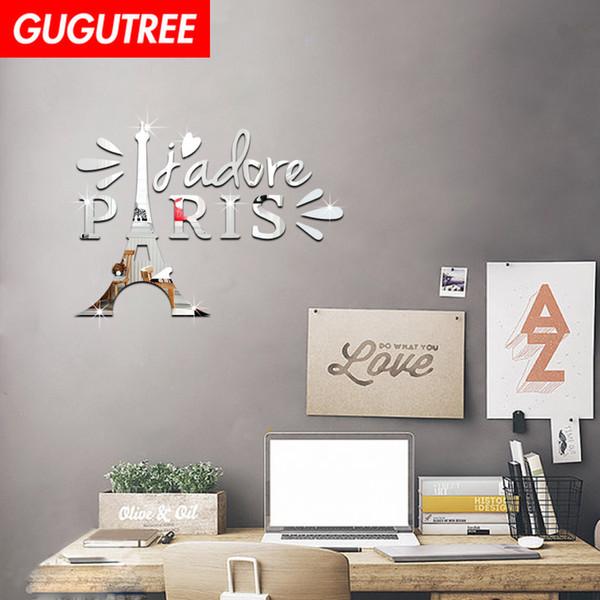 Decorate Home 3D paris cartoon mirror art wall sticker decoration Decals mural painting Removable Decor Wallpaper G-257