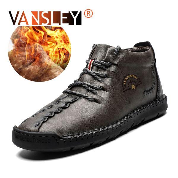 2019 Novos Homens Da Moda Botas de Alta Qualidade Dividir Ankle Boots De Couro De Pele Quente Sapatos de Neve Ao Ar Livre Sapatos de Inverno Homem Tamanho 38-48