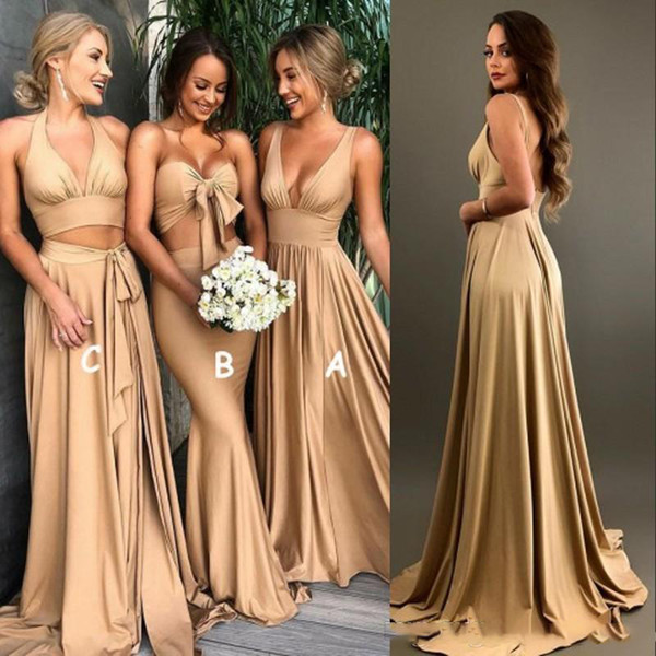 best selling Sexy African Gold Bridesmaid Dresses Cheap Boho Different Style Same Color Plus Size Maid Of Honor Evening Gown For Wedding Party Guest 2020