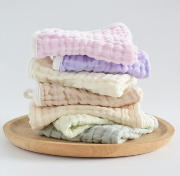 Baby cotton plant dyed washed gauze 6 layer saliva towel children without fluorescent handkerchief square towel