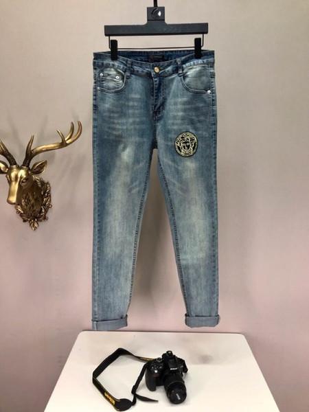2019 стиль люкс F3 Лето Известный бренд мужская мыть дизайн повседневная тонкий летом легкий деним стрейч узкие джинсы прямой байкер тощий