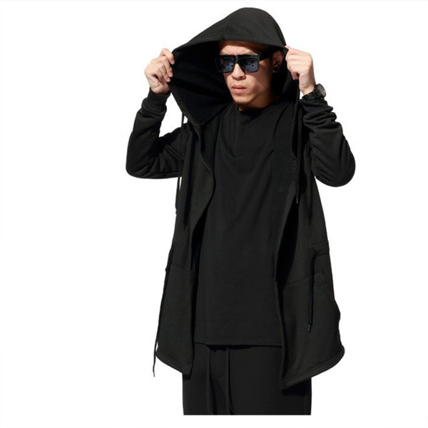 Men Hooded Jacket Brand Fashion Casual Long Sleeves Cloak Coats Plus Size Black Gown Mantle Hoodies Sweatshirts Hip Hop