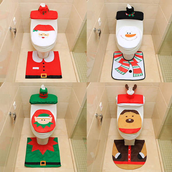Santa Claus toilet seat Santa Claus toilet seat + foot pad + water tank cover + paper towel set toilet three-piece set of fine flannel toile