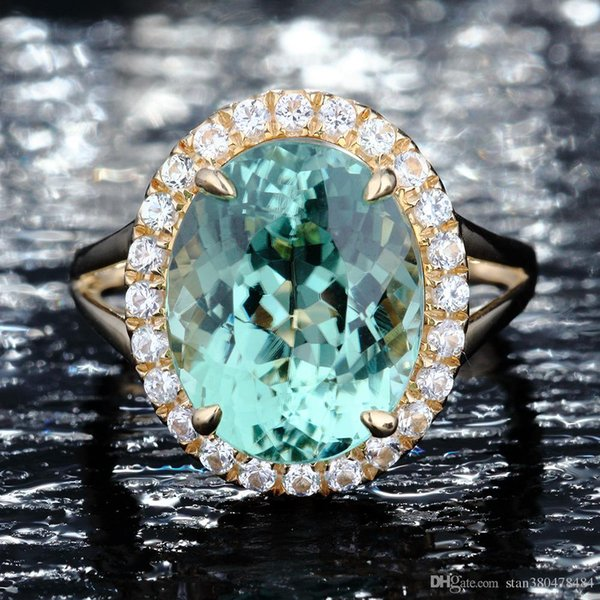 Best selling European and American fashion ring New Apple Emerald Engagement Diamond Ring Full Diamond Micro Inlay Ring Silver Jewelry Sale