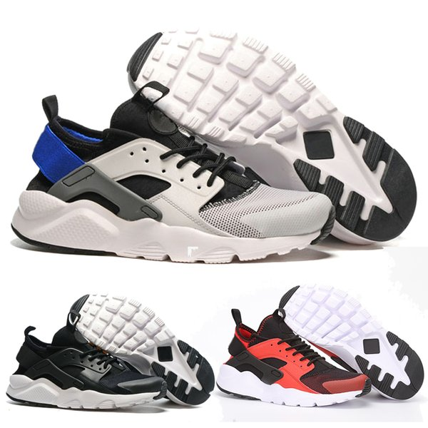 With a box 2019 Huarache 4 Men Women Running Shoes All White Huraches Zapatos Ultra Breathe Huaraches Mens Trainers Hurache Sports Sneakers