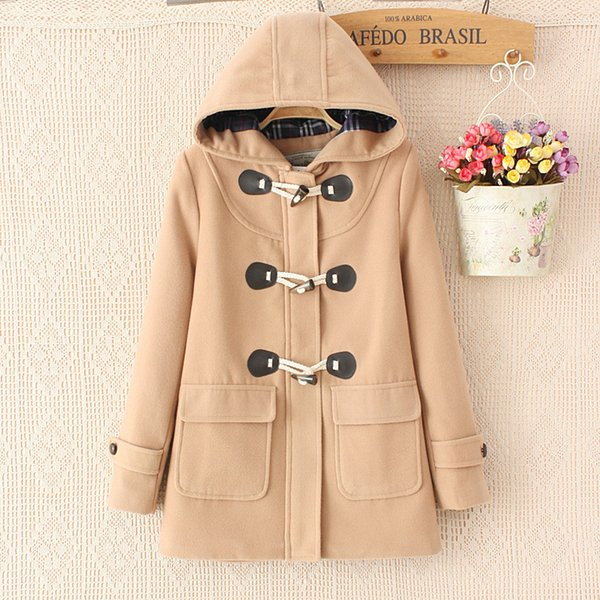 tout neuf be6e8 39233 2019 Duffle Coat Long Turn Down Horn Button Hooded Collar Woolen Overcoat  Wide Waisted Manteau Femme Out Wear Winter Coats 6 From Stylefisher, $61.15  ...